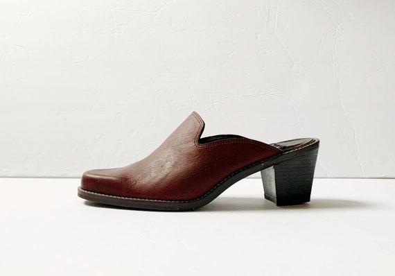 Vintage Nine West Brown Leather Mules Platforms