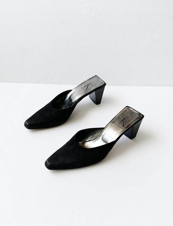 1990s CK Black Minimalist Mules Platforms