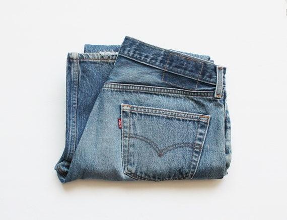 1990s Levi's 501 Ripped Hem Boyfriend Jeans