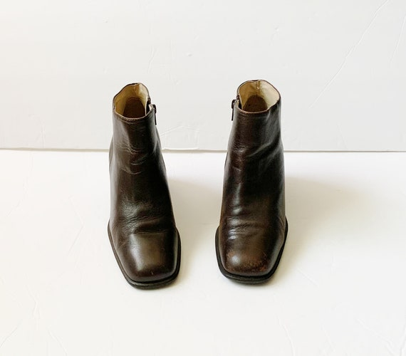 1990s INC Brown Block Heels Chelsea Ankle Boots
