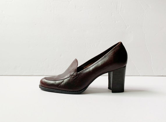 Vintage Westies Brown Leather Loafers Platforms