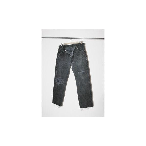 Vintage Levi's 501 Black Denim Destroyed Jeans USA