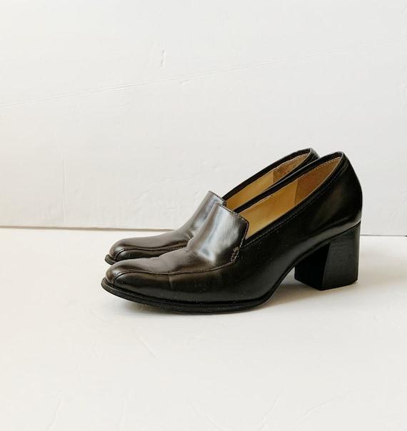 Vintage Brown Leather Loafer Platforms