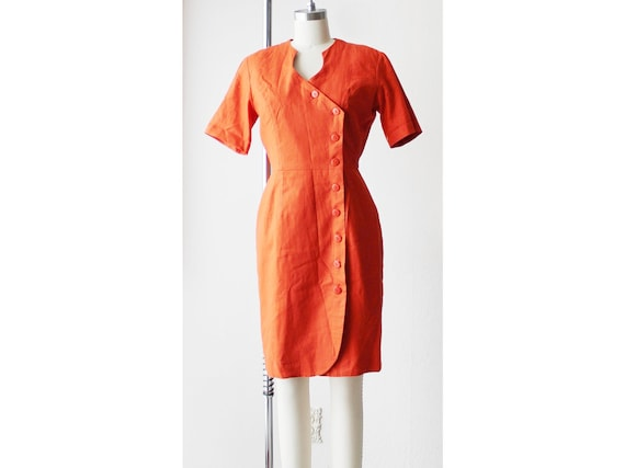 NOS 1990s Asymmetrical Orange Day Dress