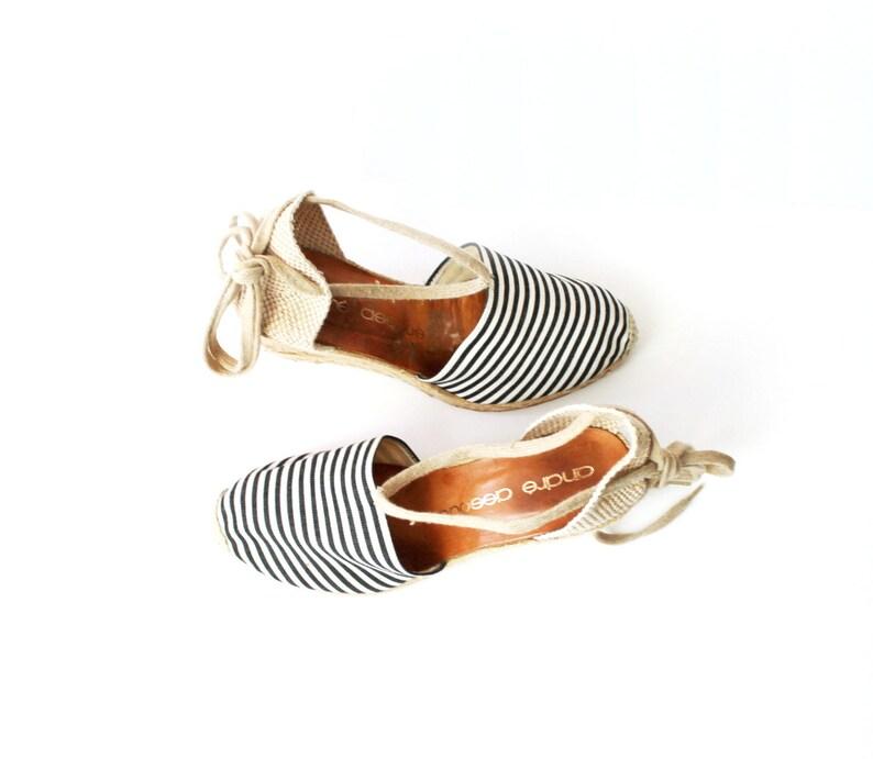 eebf4c291 Vintage Andre Assous Striped Espadrilles Wedges Sandals | Etsy