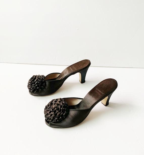 1940s Peep Toe Pom Pom Slippers Sandals Mules Pum… - image 8