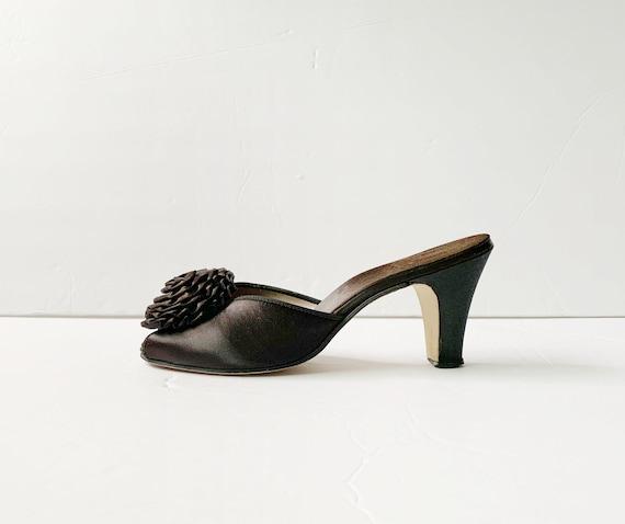 1940s Peep Toe Pom Pom Slippers Sandals Mules Pum… - image 3