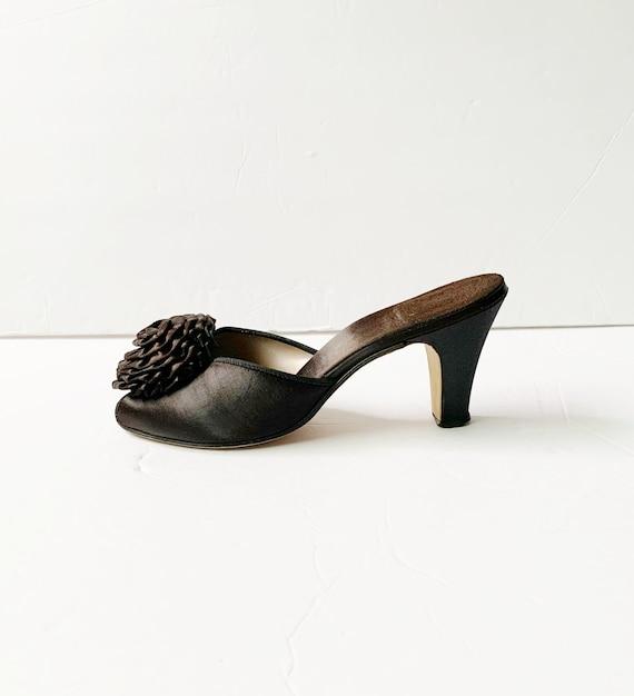 1940s Peep Toe Pom Pom Slippers Sandals Mules Pum… - image 6
