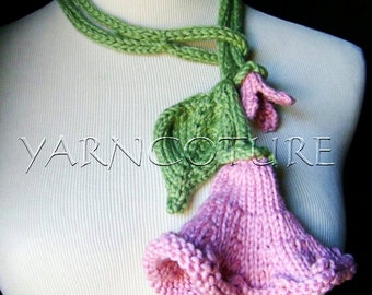 Knit Lariat / Bloom - In Pink