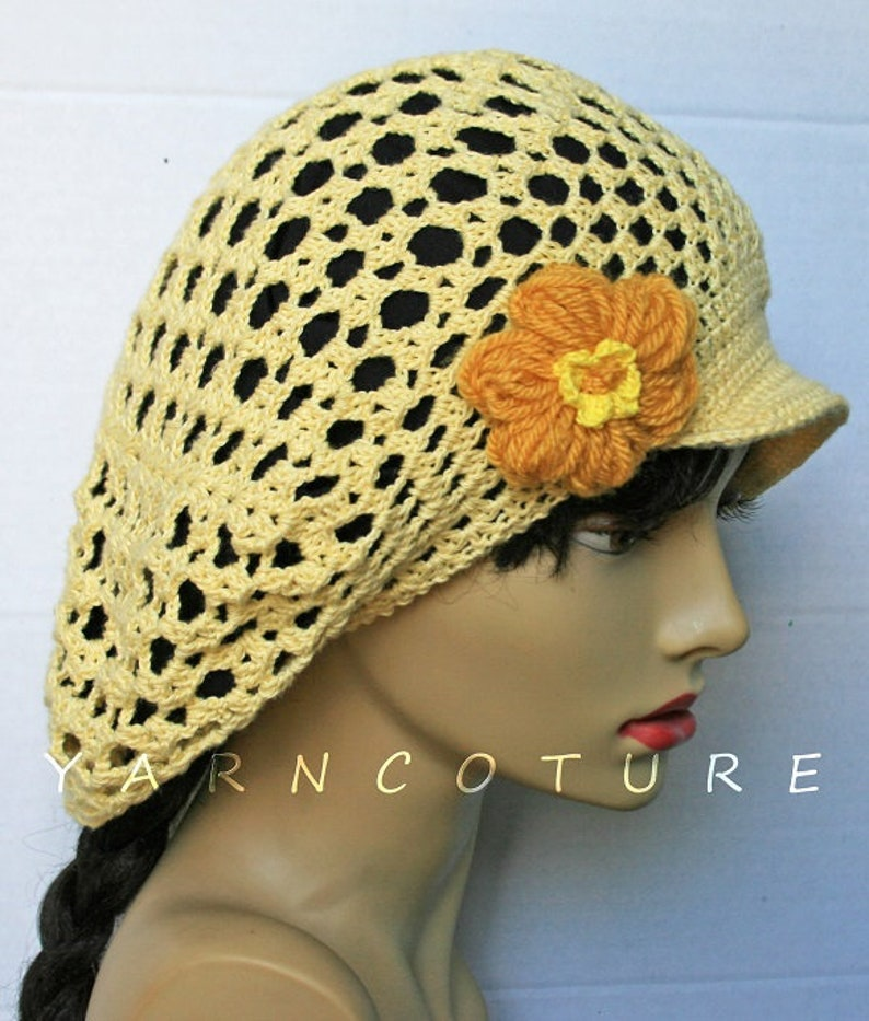 Limited Edition Brimmed Crocheted Mesh Hat With Flower / image 0