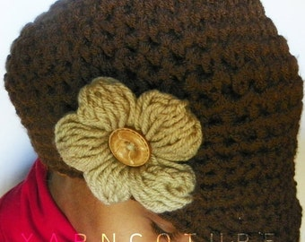The Satin Lined Puff Flower Crocheted Brimmed Beanie - In Chocolate Brown