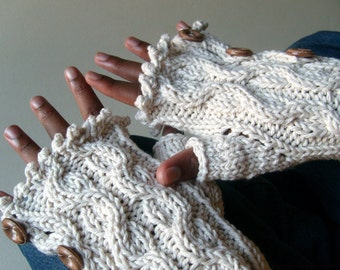 Elegant Cabled Button Down Mitts - Cool COTTON  / Fingerless Gloves / Longer Length