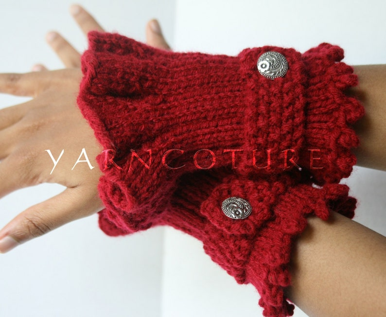 Retro  Victorian Ruffled Knit Cuffs / You Choose The COLOR & image 0