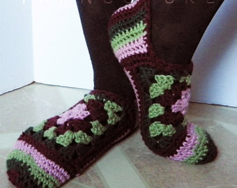 Crocheted Granny Square Slippers - Luxuriously Soft - Gift For Her - Ready To Ship - SIZE S - M