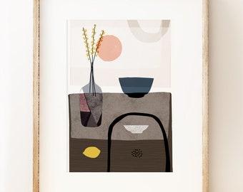 Modern still life art print 'Stillness 2' living room decor