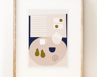 Modernist art print 'Kettle's Yard Pears', for contemporary home