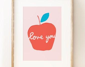 Apple wall art print. Children's prints. Graphic wall art. Affordable art. Apple art poster. Nursery Art