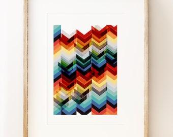 Multicolour Chevron abstract wall art print, graphic art print, geometric art