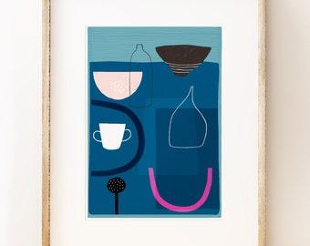 Modern 'Blue Still Life 2' art print. Modern wall art.