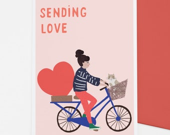 Love Bike Delivery card for love, care and positivity