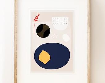 Modern art print 'Kettle's Yard Lemon', for modernist home