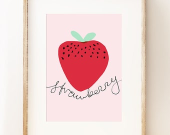 Bright and fun Strawberry wall art print for kids' rooms, offices or kitchens.