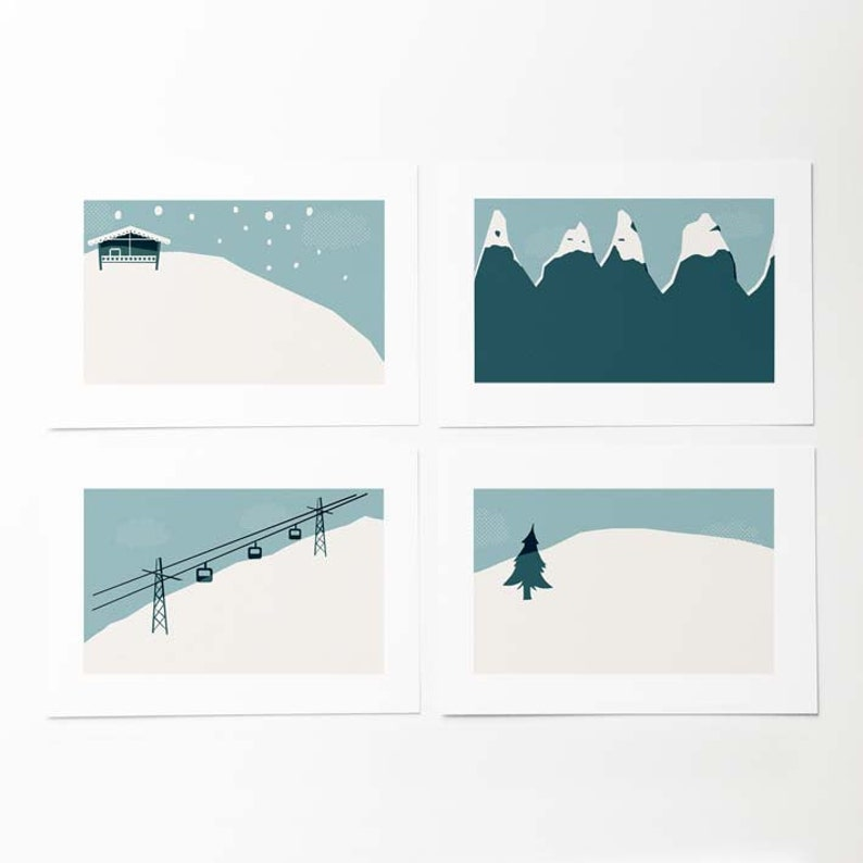 Gifts for skiers Winter holiday cards. 4 Winter illustrated postcards Vintage postcard style Winter landscape
