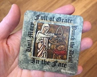 Catholic Meme Magnet - Hail Mary Punch the Devil - Catholic car magnet - funny Catholic fridge magnet - Prayer Magnet