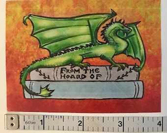 Dragons Hoard Bookplate Sticker COLOR - From the Hoard of - Customizable Bookplate 20 pack