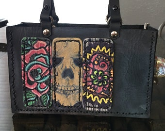 Leather Mini-Tote Purse with Painted Badges