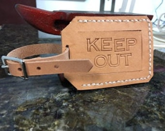 Leather privacy luggage tag - KEEP OUT