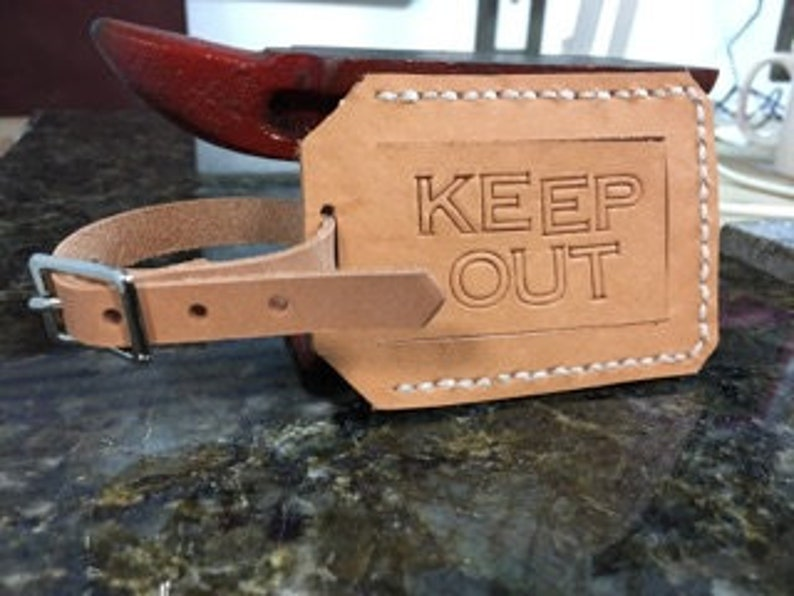 Leather privacy luggage tag  KEEP OUT image 0