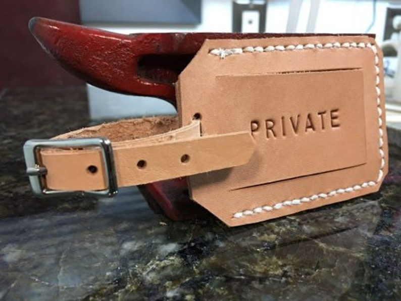 Leather privacy luggage tag  PRIVATE image 0