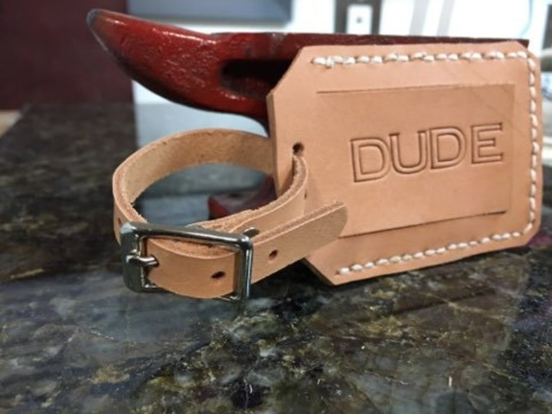 Leather privacy luggage tag  DUDE image 0