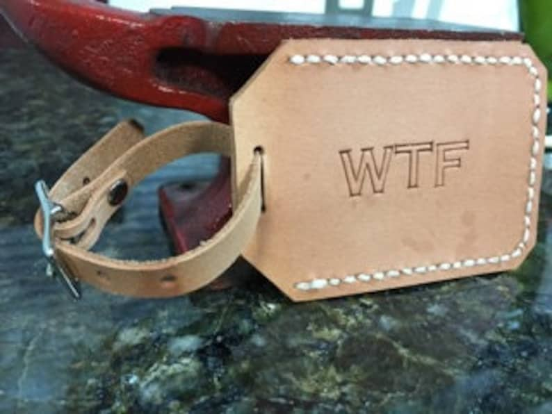 Leather privacy luggage tag  WTF image 0
