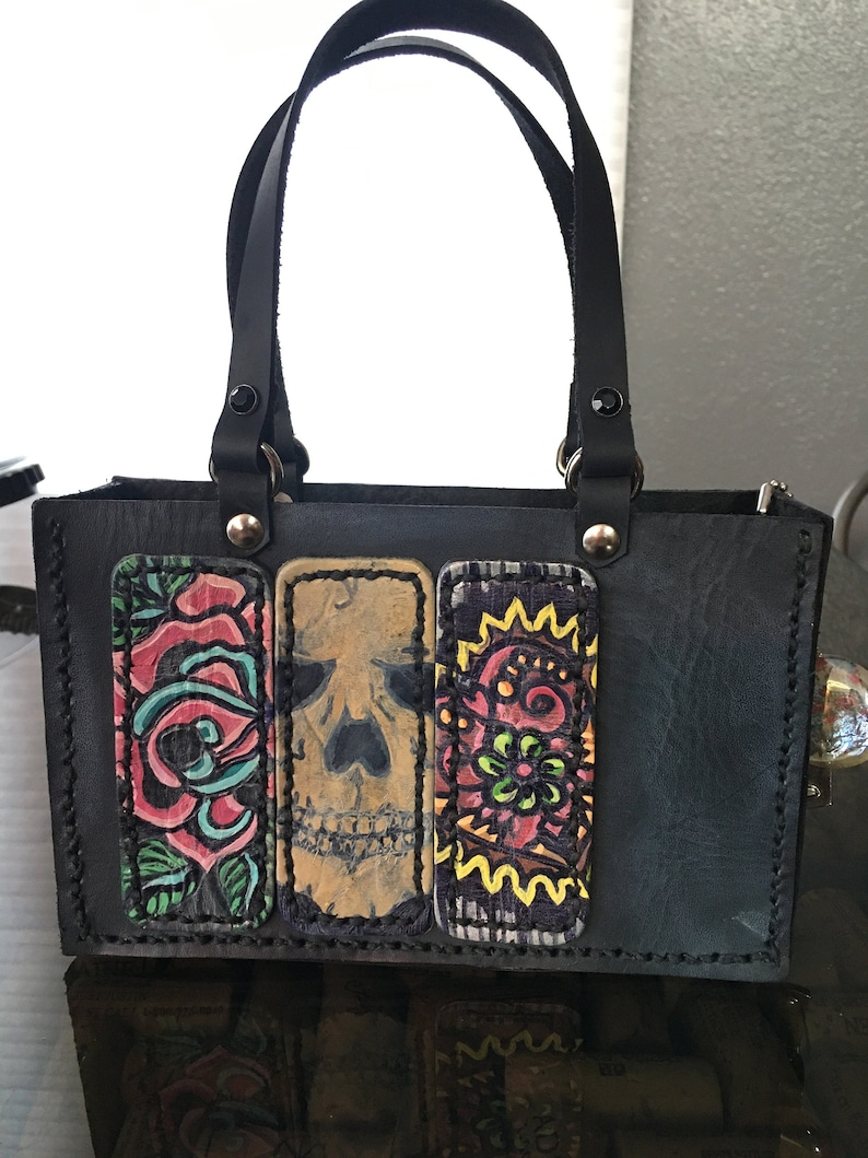 Leather Mini-Tote Purse with Painted Badges image 0