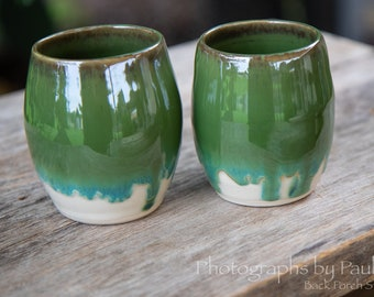 Green and White Tumbler Wine Cup Whiskey Cup