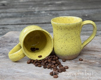 Rustic Speckled Yellow Mug 8 ounce capacity