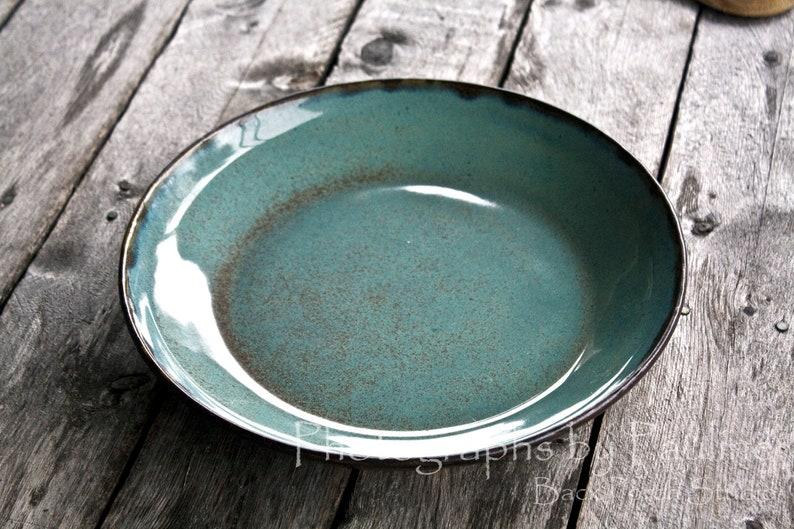 Turquoise and Brown Pasta Bowl Serving Bowl Salad Bowl