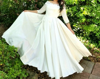 24f7230498c 1950s Vintage Ivory Satin Off the Shoulder Wedding Dress with Sleeves with  White Embroidered Lace Pleated Skirt Princess Wedding Size XS