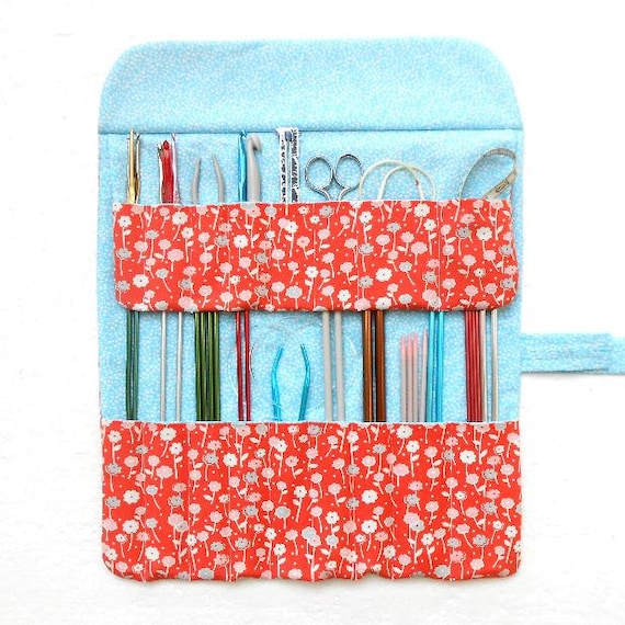 Coral Knitting Needle Roll Blue Floral Circular Needle