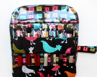 Bird Print Makeup Brush Roll Up, Travel Brush Holder, Black Pink Cosmetic Travel Case, Makeup Brush Carrier, Brush Storage Organizer