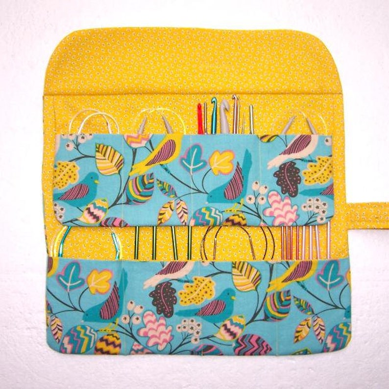 Crochet Hook Roll DPN Double Pointed Needle Holder Circular Knitting Needle Case in Yellow and Blue Bird Print
