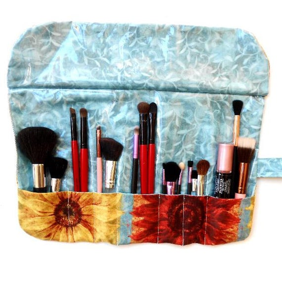 e8db5b479484 Sunflower Print Makeup Brush Holder With 7 Pockets, Travel Cosmetic Storage  Case, Gift For Her