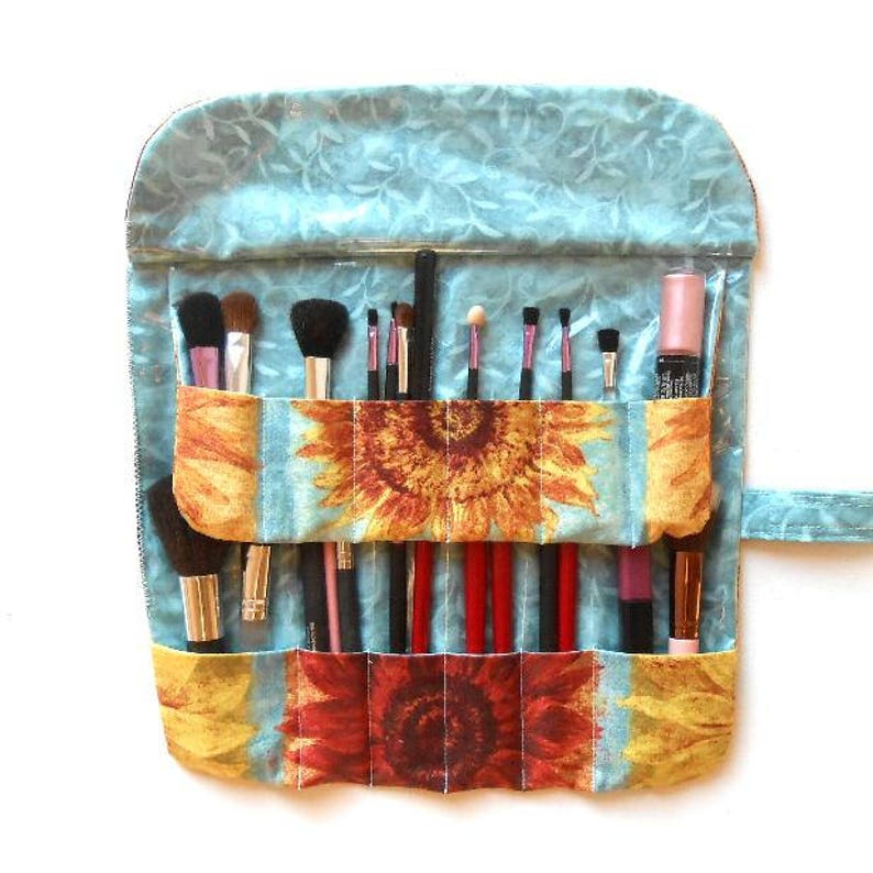 8acee0a5d962 Travel Brush Carrier, Makeup Brush Holder with Two Rows and 12 Pockets,  Cosmetic Case