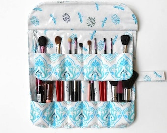 Two Row Makeup Brush Holder, 12 Pockets, Cosmetic Carrier, Travel Brush Roll Up, Gift For Her, Makeup Brush Bag, Brush Storage Organizer