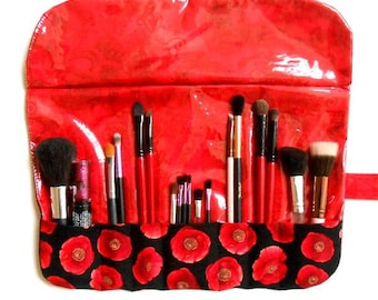 Red Floral Makeup Brush Holder, Travel Brush Storage, 7 Rows for Organizing Brushes and Liners, Bridesmaid Gift,  Makeup Brush Roll Up Pouch