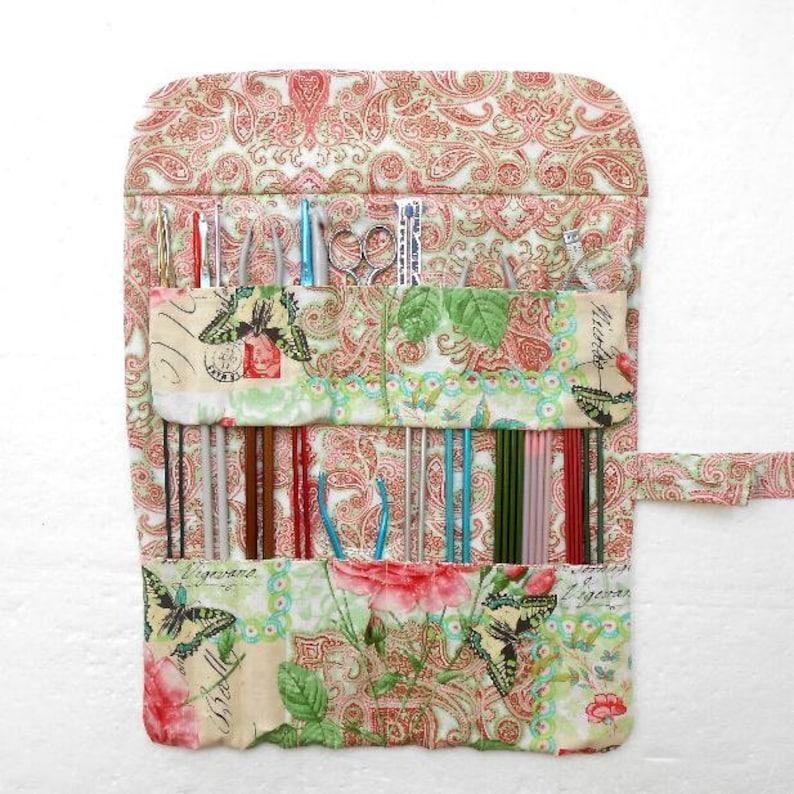 Large Knitting Needle Case With 17 Pockets Crochet Hook Holder Artist Brushes Roll DPN Storage