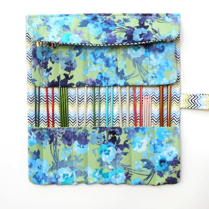 Double Pointed Needle DPN Holder 17 Pockets Crochet Hook Case Blue Green Knitting Needle Roll Up
