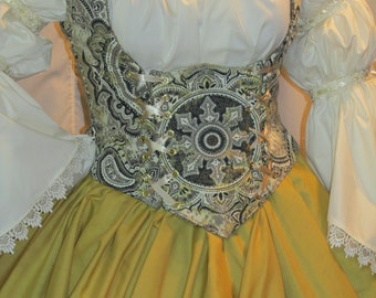 2da2e2be03 DDNJ Choose Fabric Reversible Side Lace UnderBust Corset Style Bodice Plus Custom  Made ANY Size Renaissance Anime Pirate Cosplay Costume SCA